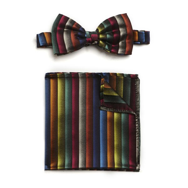 MULTI STRIPED SILK BOW WITH MATCHING POCKET SQUARE