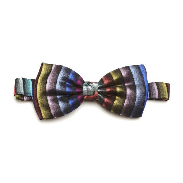 Blue/Multi Striped Silk Bow Tie-0
