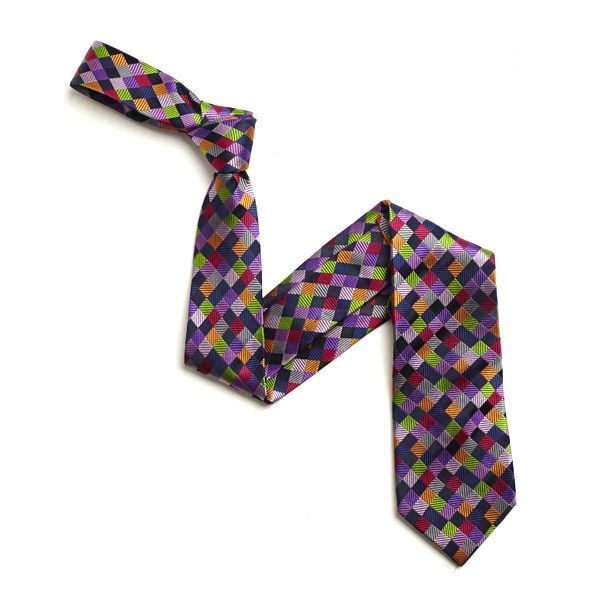 NAVY/PURPLE MULTI CHECKED SILK TIE-0