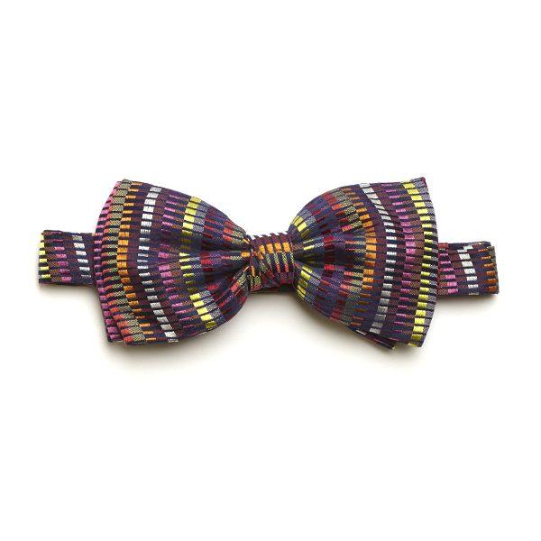 Pink/Yellow/Multi Dash Silk Bow Tie-0