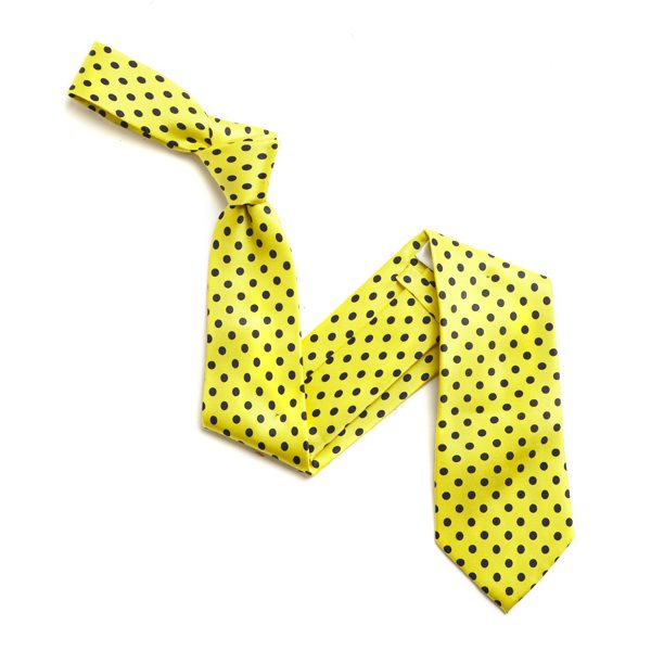 YELLOW/BLACK SMALL POLKA DOTS SILK TIE-0