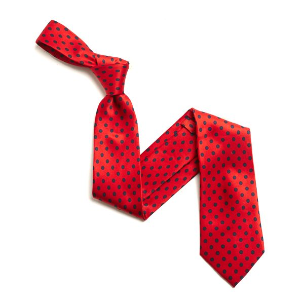 RED/NAVY SMALL POLKA DOTS SILK TIE-0