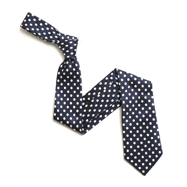 NAVY/WHITE SMALL POLKA DOTS SILK TIE-0