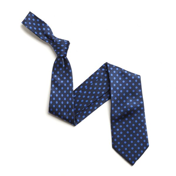 NAVY/BLUE SMALL POLKA DOTS SILK TIE-0