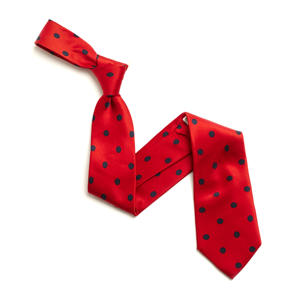 RED/NAVY LARGE POLKA DOTS SILK TIE-0
