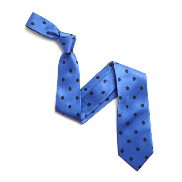 SKY BLUE/NAVY LARGE POLKA DOTS SILK TIE-0