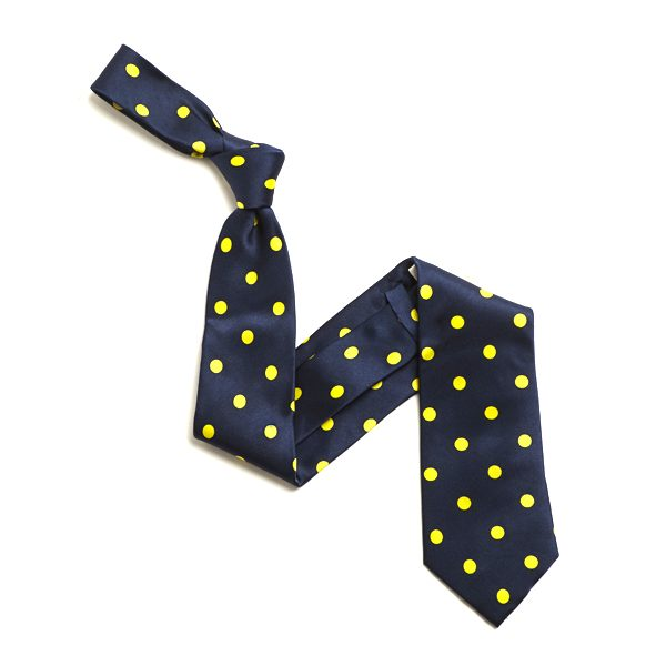 NAVY/YELLOW LARGE POLKA DOTS SILK TIE-0