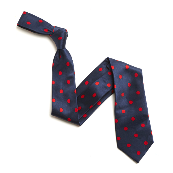 NAVY/RED LARGE POLKA DOTS SILK TIE