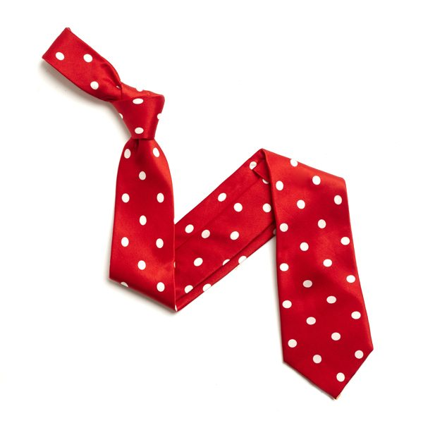 RED/WHITE LARGE POLKA DOTS SILK TIE-0