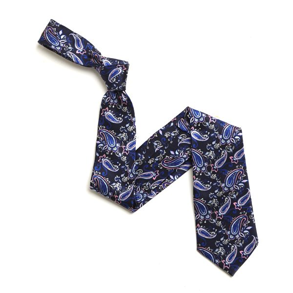 NAVY/PINK AND BLUE PAISLEY PRINT SILK TIE-0