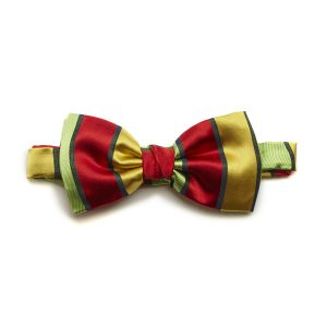 Red/Yellow Striped Silk Bow Tie-0