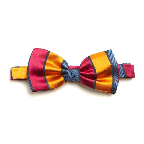 Orange/Red Striped Silk Bow Tie-0