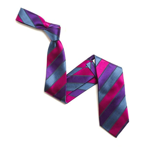 PINK/PURPLE BOLD DIAGONAL STRIPE SILK TIE-0