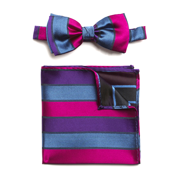 PURPLE/PINK/BLUE STRIPED SILK BOW WITH MATCHING POCKET SQUARE