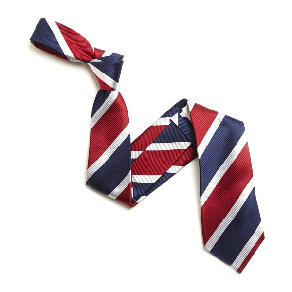 RED/WHITE AND NAVY BOLD STRIPE SILK TIE-0
