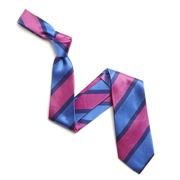PINK/BLUE BOLD DIAGONAL STRIPE SILK TIE-0