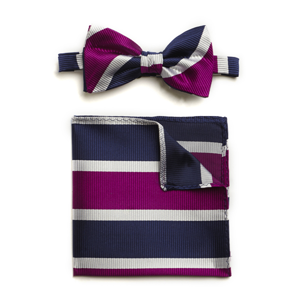 NAVY PURPLE WHITE BOLD STRIPE SILK BOW WITH MATCHING POCKET SQUARE