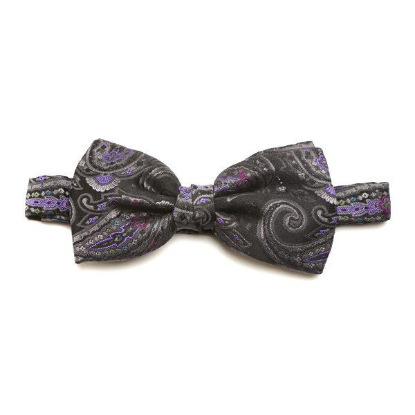 Grey/Purple Paisley Silk Bow Tie-0
