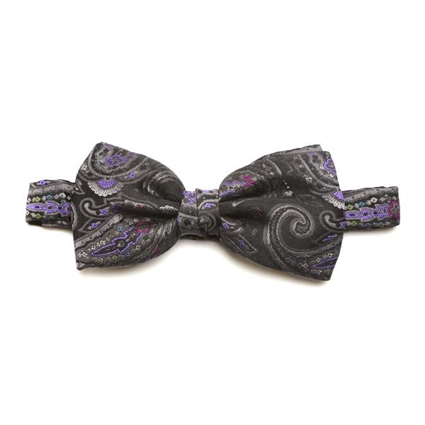 Grey/Purple Paisley Silk Bow Tie