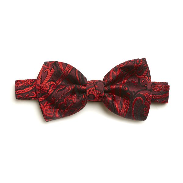 Red Paisley Silk Bow Tie-0