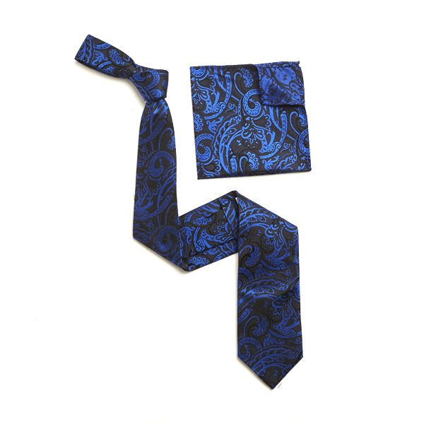 BLACK/BLUE PAISLEY SILK TIE AND MATCHING SILK POCKET SQUARE-0