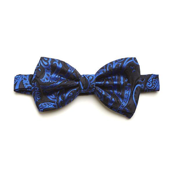 Blue Paisley Silk Bow Tie-0