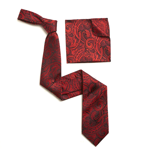 RED PAISLEY SILK TIE & MATCHING SILK POCKET SQUARE