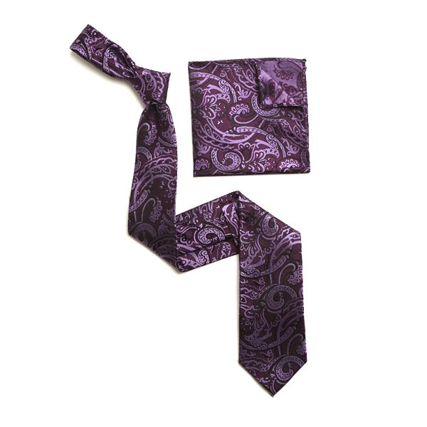 PURPLE/LILAC PAISLEY SILK TIE & MATCHING SILK POCKET SQUARE-0