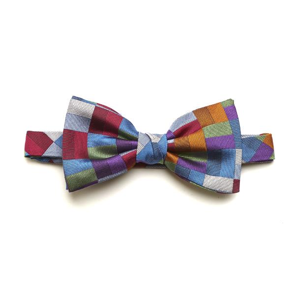 Red/Blue/Orange Block Silk Bow Tie