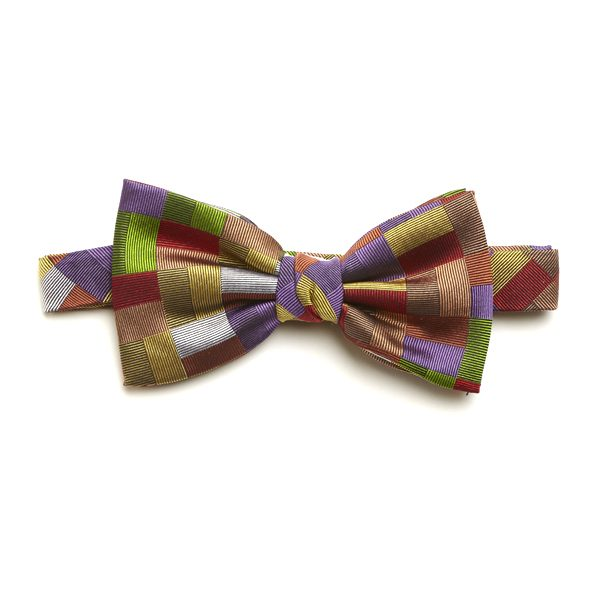 Green/Lilac/Beige Silk Bow Tie-0