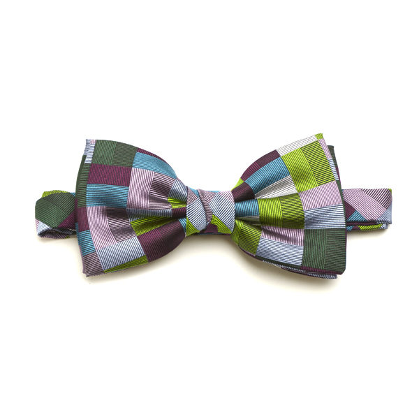 Green/Purple/Multi Block Silk Bow Tie-0