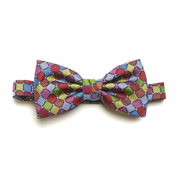 Red/Yellow/Multi Squared Silk Bow Tie-0
