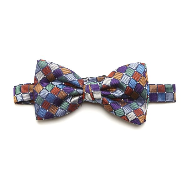 Purple/Blue/Multi Squared Silk Bow Tie-0