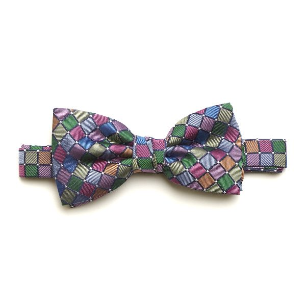 Green/Lilac/Multi Silk Bow Tie-0