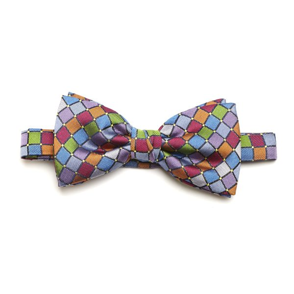 Orange/Lilac/Multi Squared Silk Bow Tie-0