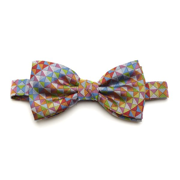 Red/Orange/Multi Diamond Silk Bow Tie-0