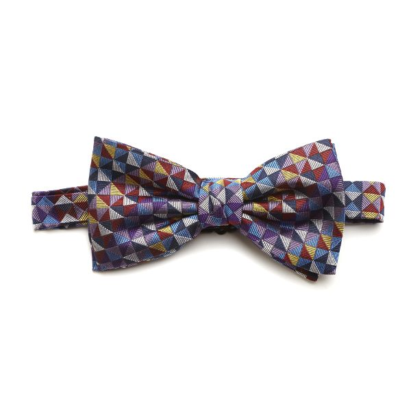 Purple/Lilac/Multi Squared Silk Bow Tie-0