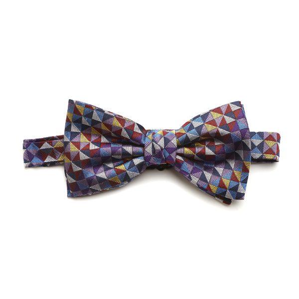 Purple/Lilac/Multi Squared Silk Bow Tie-0