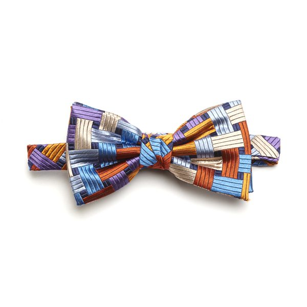 Orange/Blue/Multi Weave Silk Bow Tie-0
