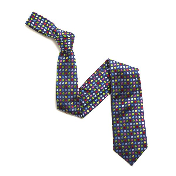 NAVY/MULTI SMALL DOTS SILK TIE-0