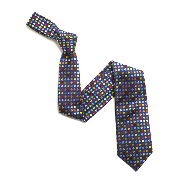 Navy/Multi Small Dots Silk Tie