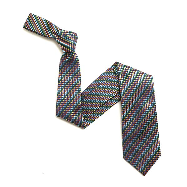 GREEN/AQUA AND ORANGE SMALL DOTS SILK TIE-0
