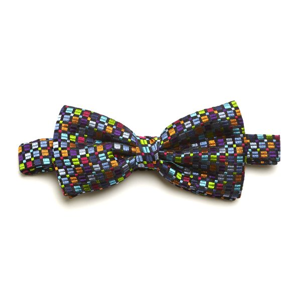 Black/Green/Multi Squared Silk Bow Tie-0