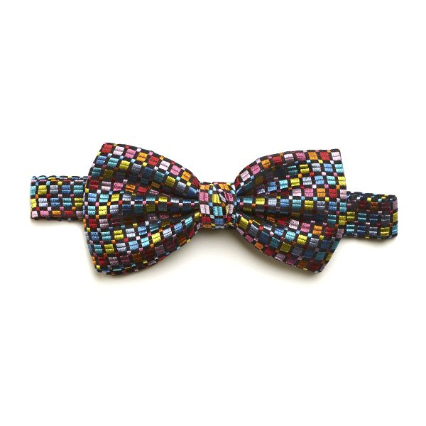 Black/Aqua/Multi Squared Silk Bow Tie-0
