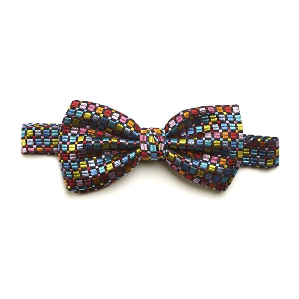 Black/Aqua/Multi Squared Silk Bow Tie