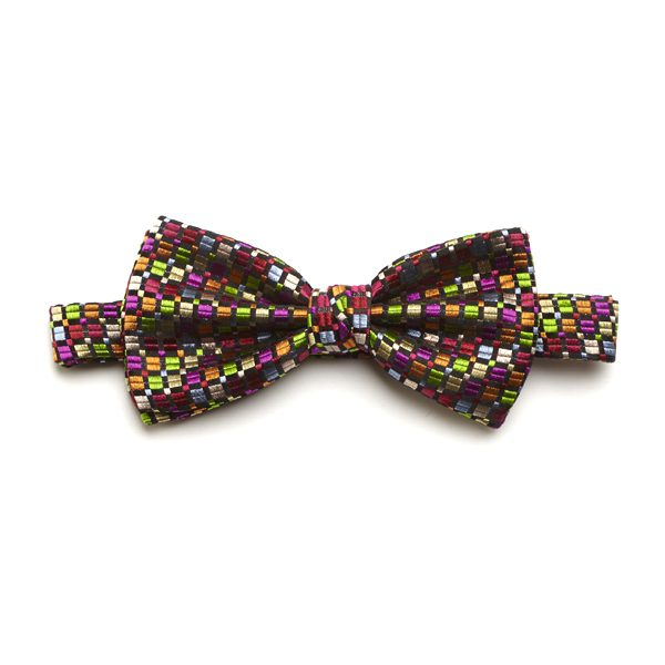 Black/Pink/Multi Squared Silk Bow Tie-0
