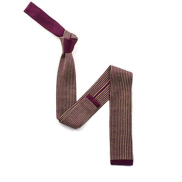 Burgundy/cream mottled silk knitted tie-0