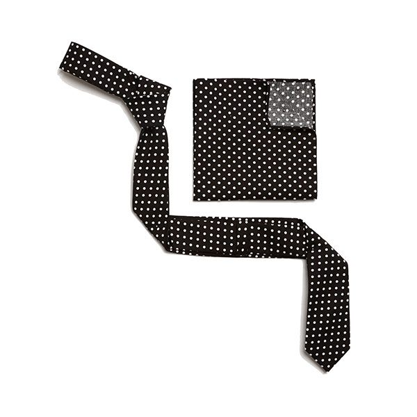 BLACK/WHITE POLKA DOTS SKINNY TIE-0