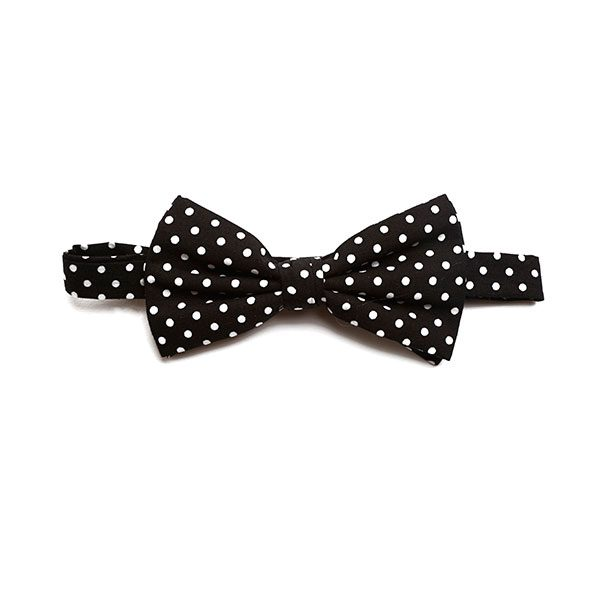 BLACK/WHITE POLKA DOTS BOW TIE-0