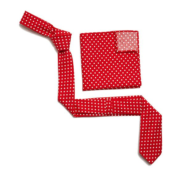RED/WHITE POLKA DOTS SKINNY TIE-0
